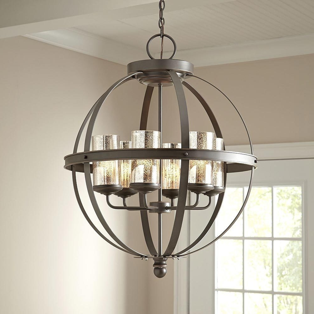 Modern 6 Light Globe Chandelier Orb Pendant Lighting Glass Shades With Regard To Fashionable Globe Chandeliers (View 11 of 15)
