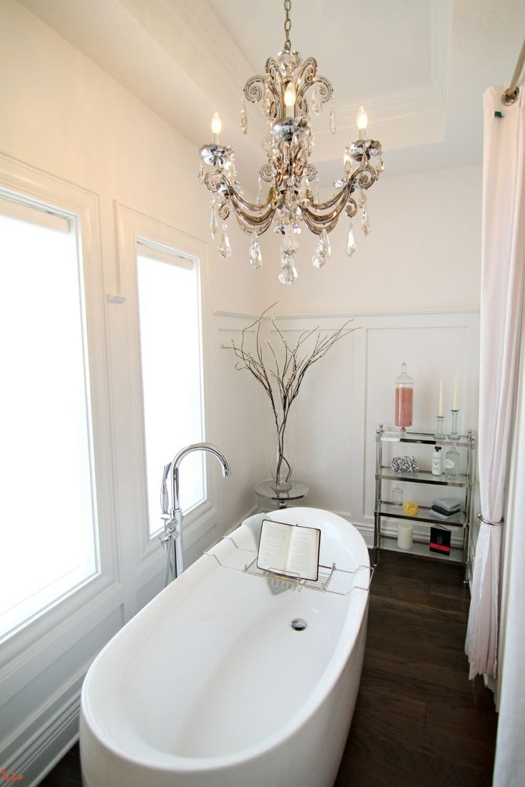 Modern Bathroom Chandelier Lighting Pertaining To Newest Fabulous Small Bathroom Chandelier Crystal Bathroom Small Crystal (View 6 of 15)