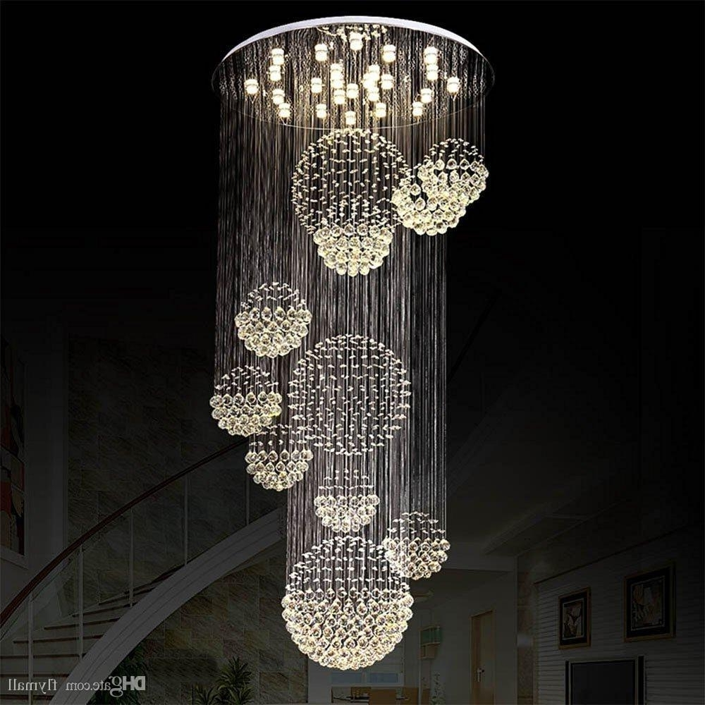 Modern Chandelier Large Crystal Light Fixture For Lobby Staircase within Most Current Long Chandelier Lighting