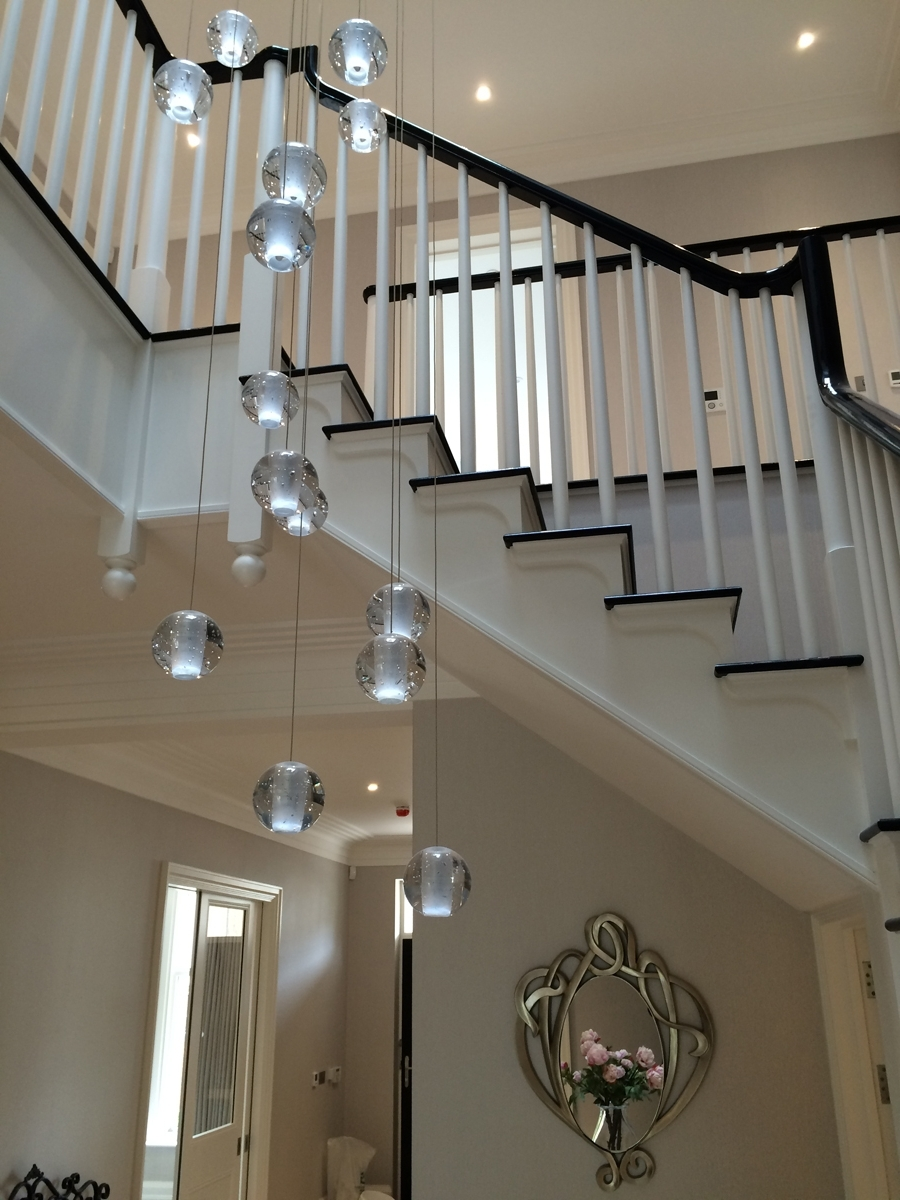Modern Crystal Chandelier Led Hanging Lighting Large Big Glass Globe Within Well Known Stairwell Chandeliers (View 5 of 15)