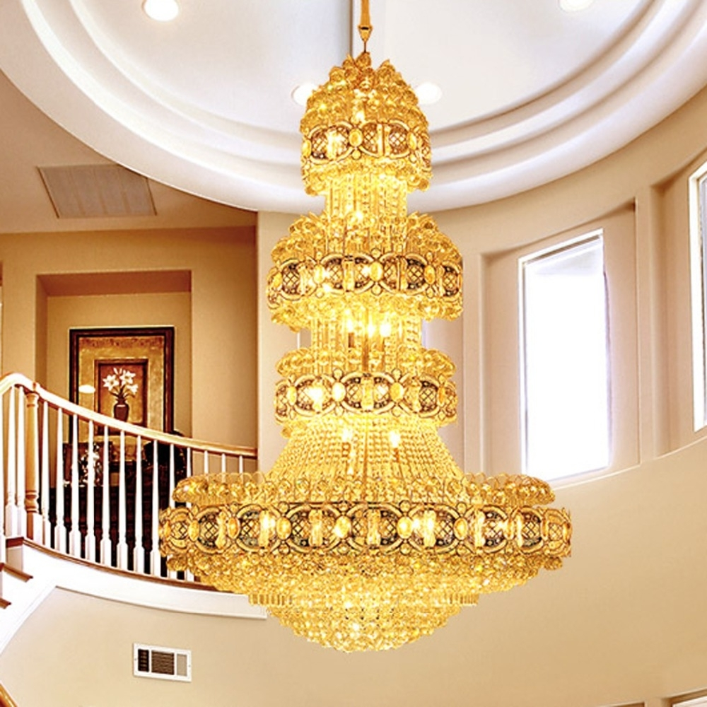 Modern Crystal Chandelier Lighting Fixture Gold Crystal Chandeliers Throughout Widely Used Hotel Chandelier (View 11 of 15)