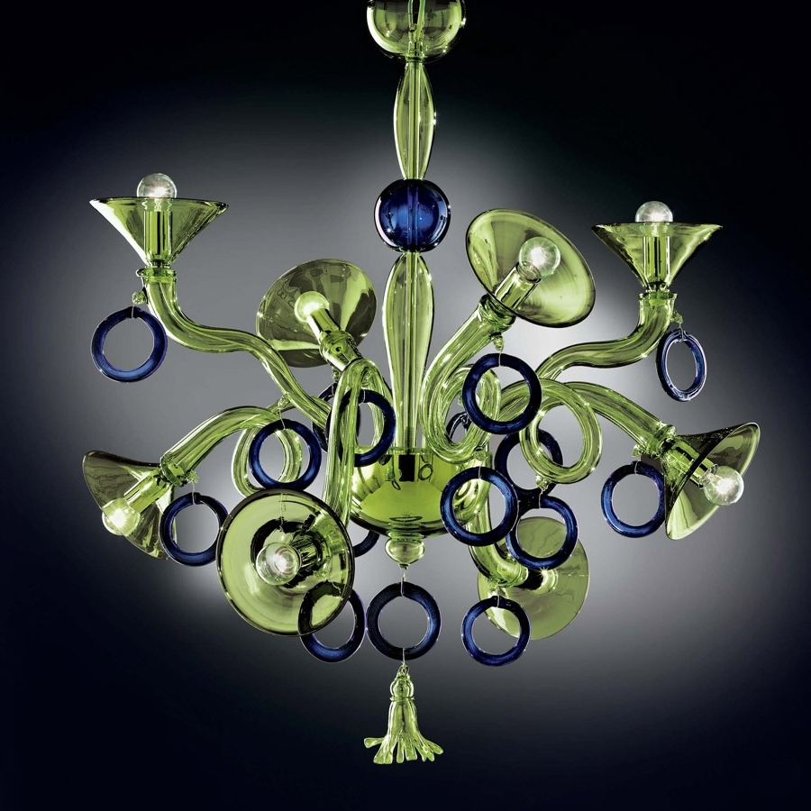 Modern Glass Chandeliers Pertaining To Favorite Green And Blue Modern Murano Glass Chandelier Dml503K8Gb – Murano (View 10 of 15)