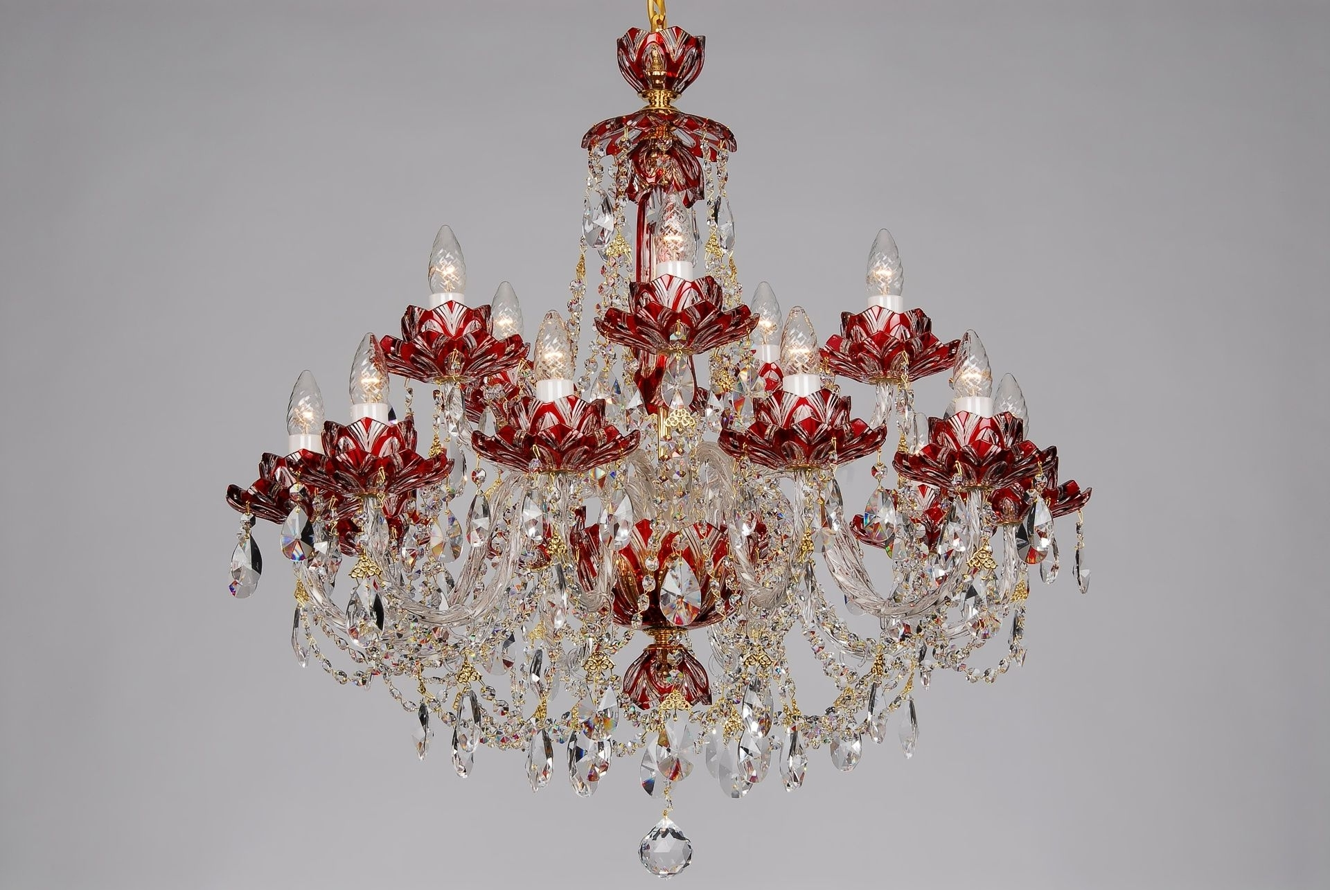Modern Red Chandelier Inside Preferred Fifteen Arm Red Crystal Chandelier With Lotus Flower Design Charming (View 6 of 15)