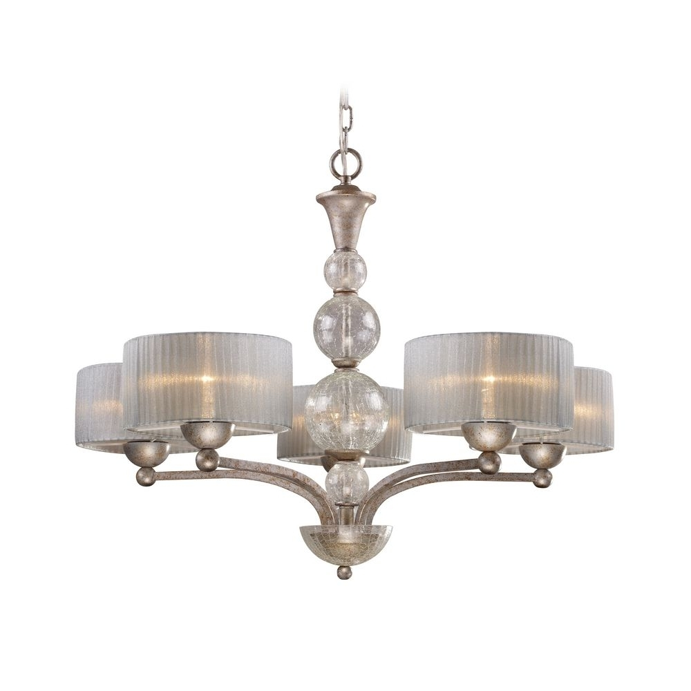 Modern Silver Chandelier In Most Recently Released Modern Chandelier With Silver Shade In Antique Silver Finish (View 7 of 15)