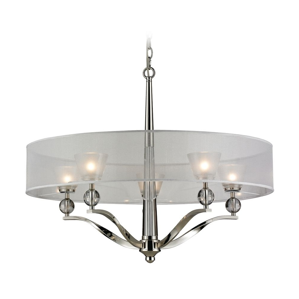 Modern Silver Chandelier Inside Well Liked Modern Chandelier With Silver Shade In Polished Nickel Finish (View 2 of 15)