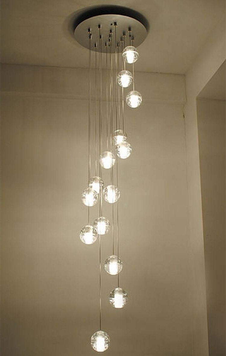 Modern Stairwell Led Chandelier Lighting Large Bubble Crystal Ball Intended For Best And Newest Staircase Chandeliers (View 2 of 15)
