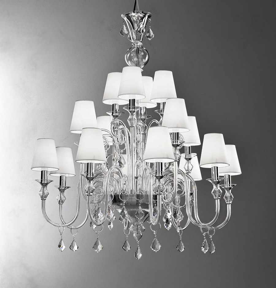 Modern White Chandelier Pertaining To Most Recent Modern Murano Chandelier L16K Clear Glass – Murano Lighting (View 8 of 15)
