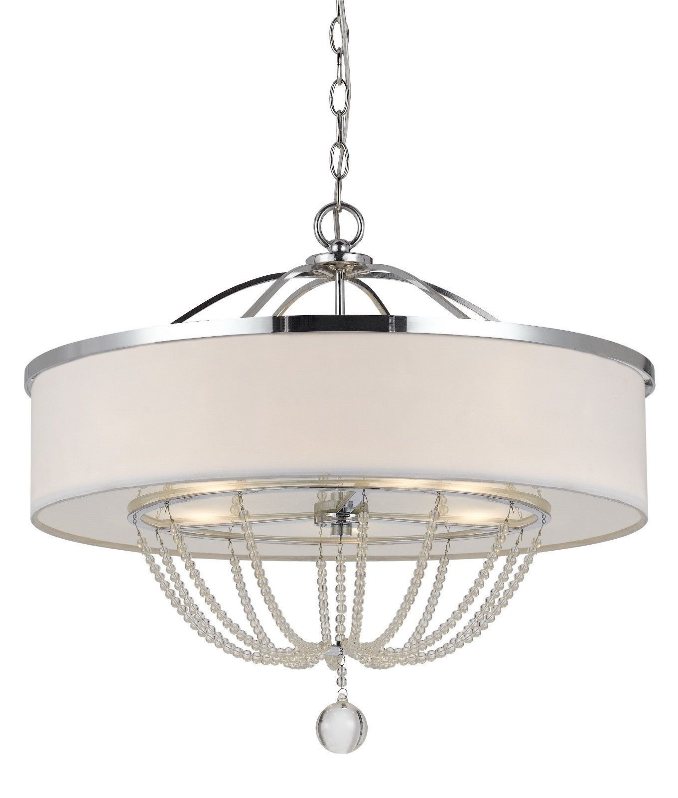 Modern White Chandelier Pertaining To Widely Used Modern White Fabric With Chrome Metal & Crystals Drum Pendant Light (View 9 of 15)