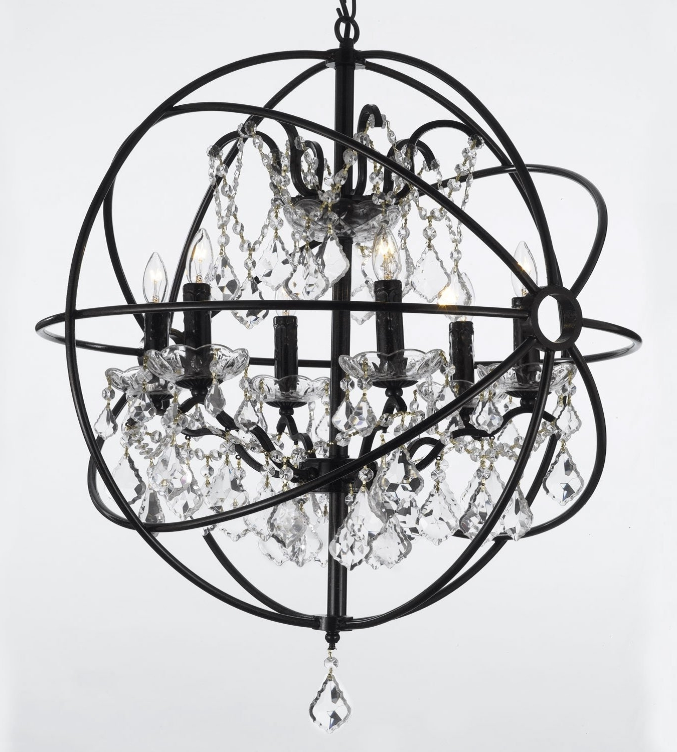 Modern Wrought Iron Chandeliers Inside Newest Foucault's Orb Wrought Iron Crystal Chandelier Lighting Country (View 10 of 15)