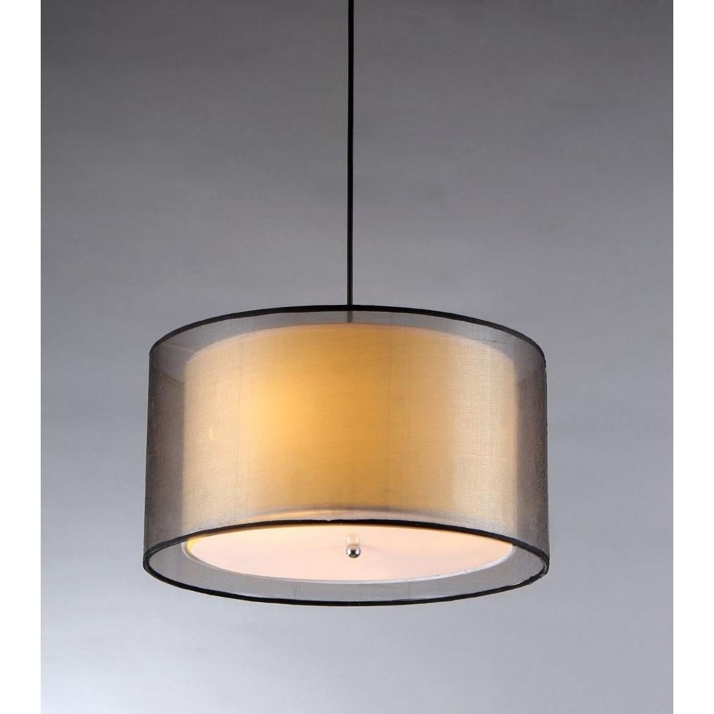 Most Current Fabric Drum Shade Chandeliers In Warehouse Of Tiffany Fabiola 3 Light Black Brown Hanging Chandelier (View 12 of 15)