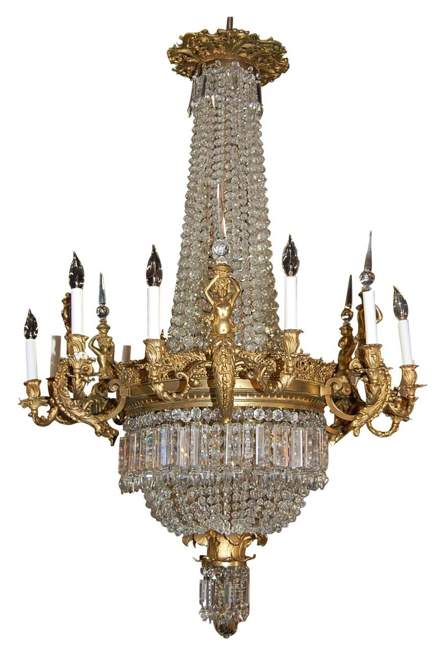 Most Current French Bronze Chandelier Intended For Magnificent French Bronze And Crystal Chandelier Via Ruby Lane (View 4 of 15)