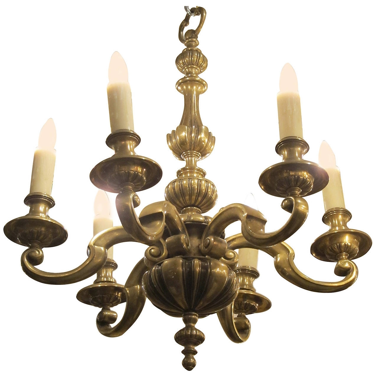Most Current Georgian Chandelier Inside 1920S English Bronze Georgian Style Six Light Chandelier For Sale At (View 9 of 15)
