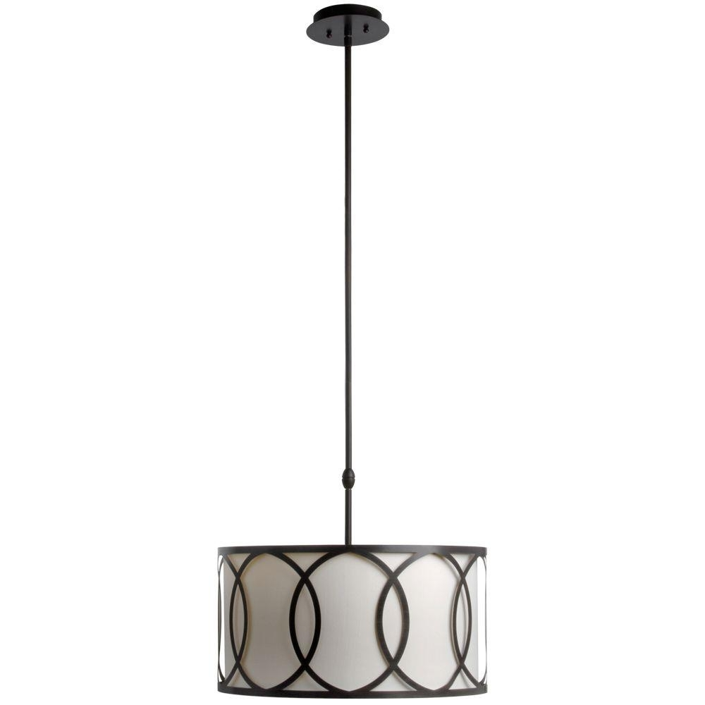 Most Current Hampton Bay Davenport 3 Light Oil Rubbed Bronze Pendant With White Inside Metal Drum Chandeliers (View 10 of 15)