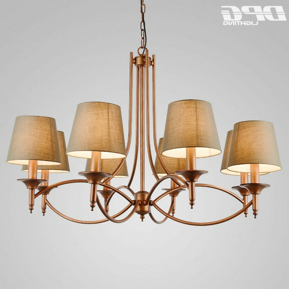 Most Current Modern Green Lampshade Traditional Room Gold Iron Chandelier Flush Regarding Lampshade Chandeliers (View 12 of 15)