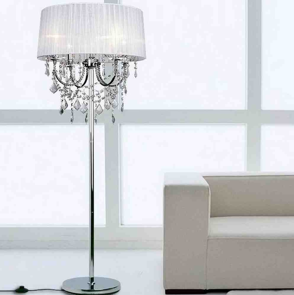 Most Current Tall Standing Chandelier Lamps Regarding Decor Brilliant Crystal Chandelier Floor Lamp For Modern Living (View 6 of 15)