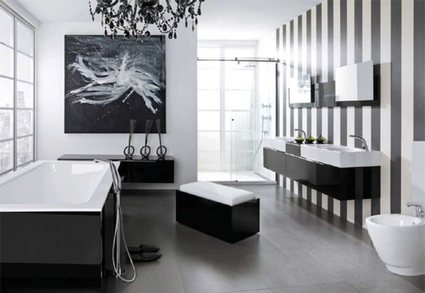 Most Current Wall Mounted Bathroom Chandeliers With Regard To Black And White Bathroom Border Tiles Black White Glossy Finished (View 7 of 15)