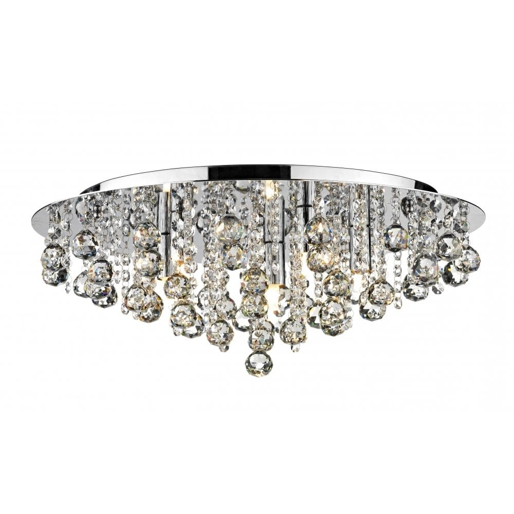 Most Popular Dar Lighting Pluto Plu5450 Polished Chrome Flush 5 Light Ceiling Fitting Regarding Flush Fitting Chandelier (View 15 of 15)