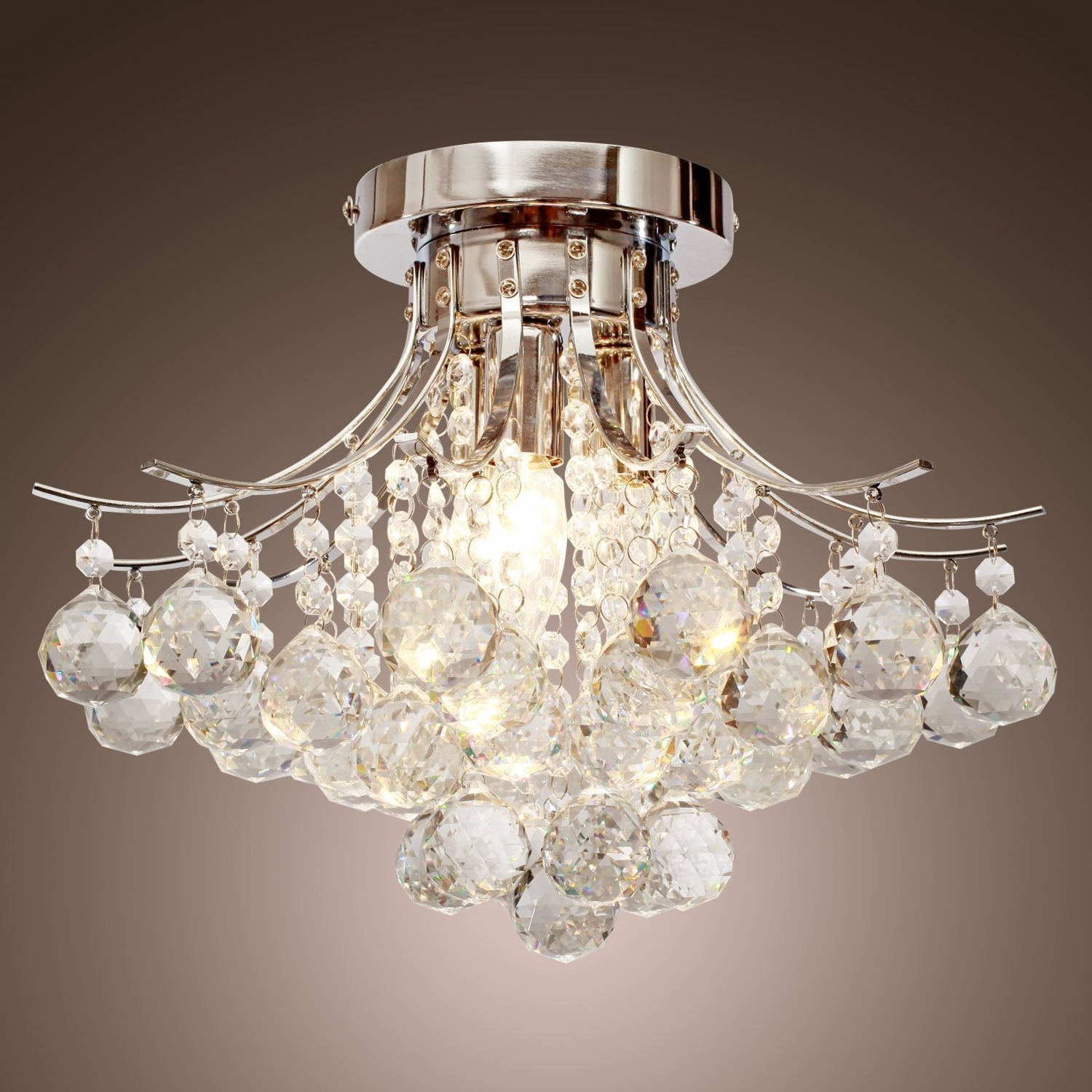 Most Popular Flush Fitting Chandeliers Intended For Locoâ Chrome Finish Crystal Chandelier With 3 Lights, Mini Style (View 10 of 15)