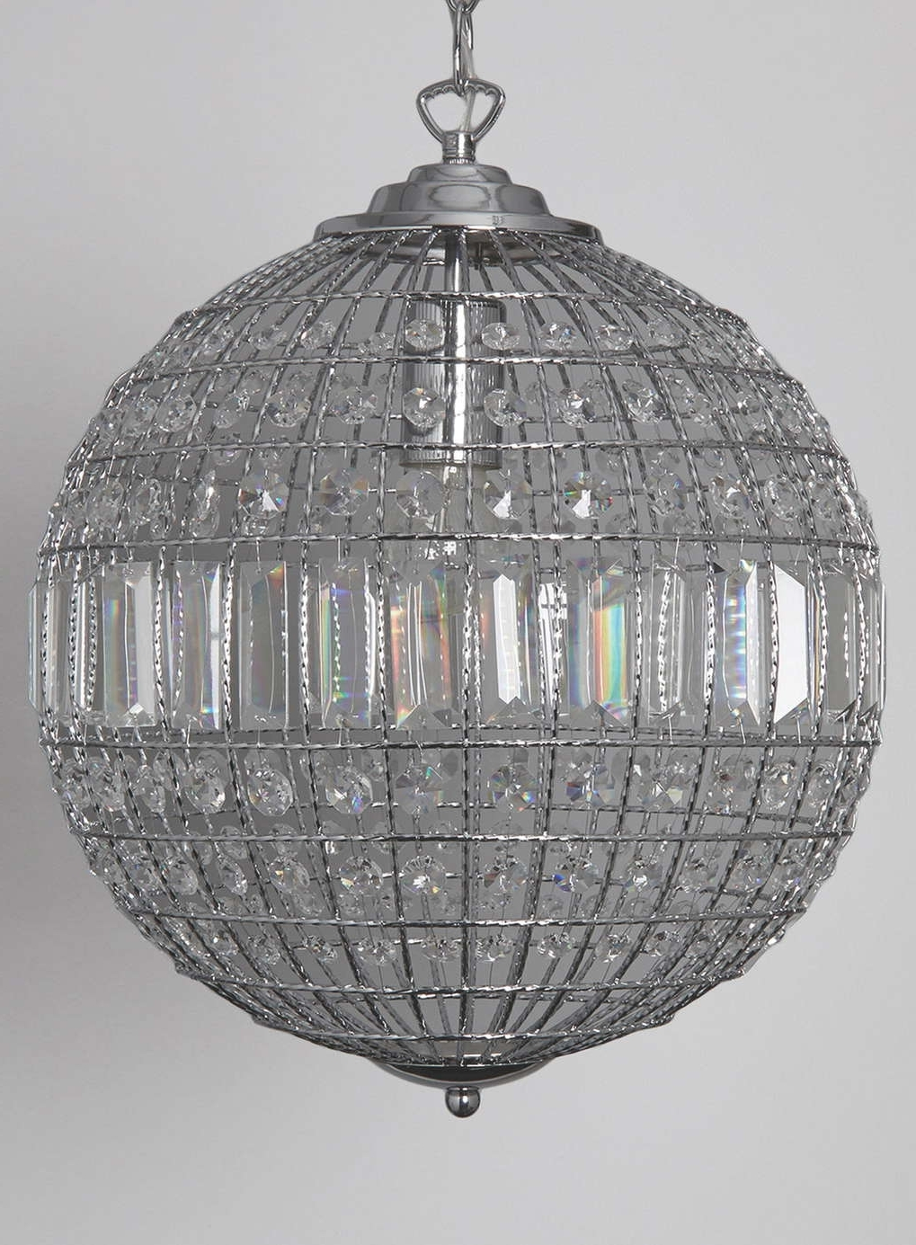 Most Popular Globe Crystal Chandelier For Light : Lovely Crystal Hanging Chandelier Residence Decorating (View 9 of 15)