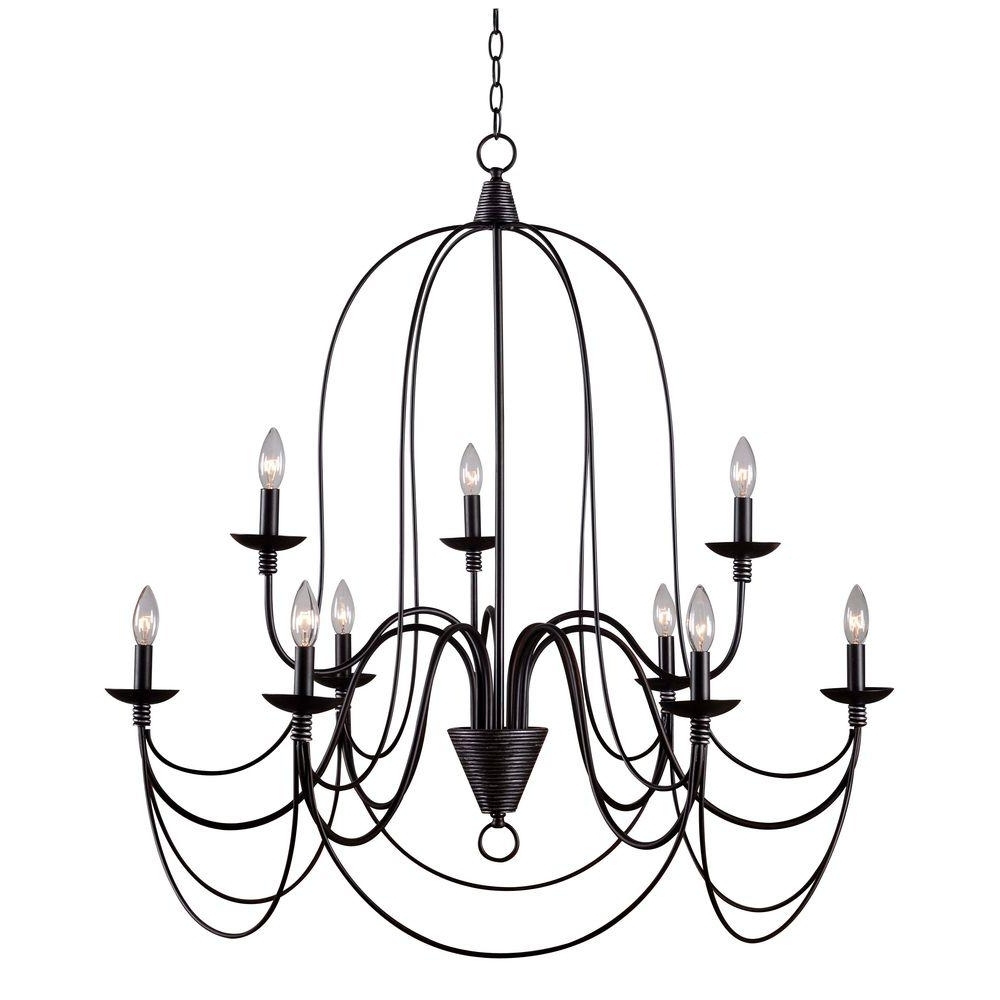Most Popular Kenroy Home Pannier 9 Light Oil Rubbed Bronze With Silver Highlights Inside Large Bronze Chandelier (View 2 of 15)
