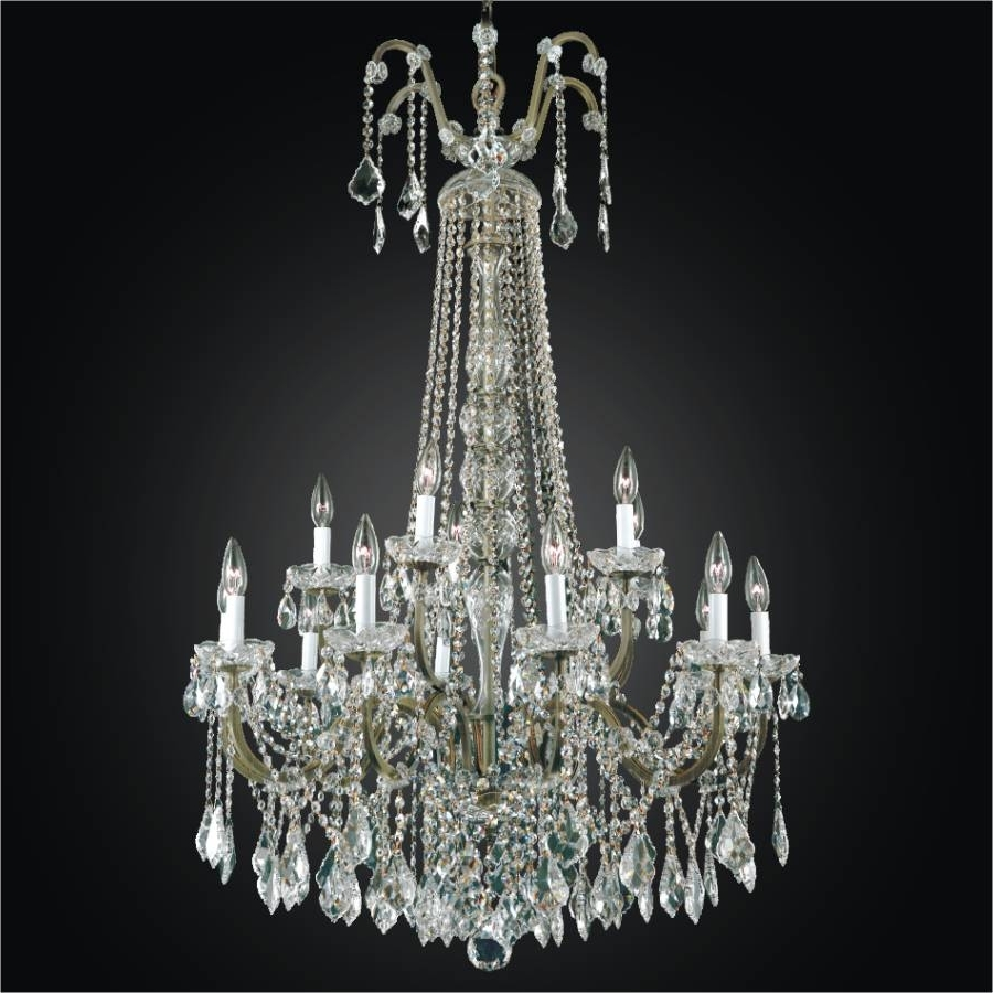 Most Popular Large Crystal Chandeliers Throughout Wrought Iron Foyer Chandeliers – Large Crystal Chandelier (View 10 of 15)