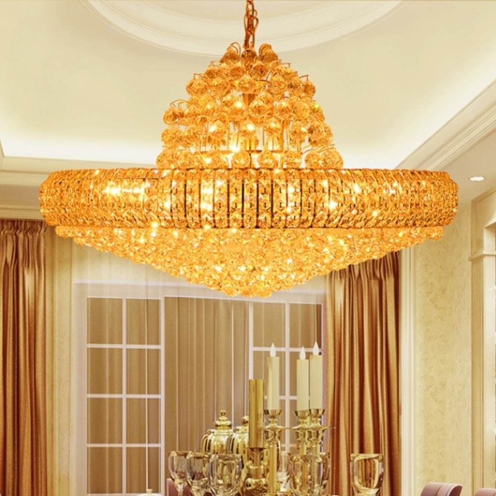 Most Popular Led Golden Crystal Chandeliers Big Round Golden Chandeliers Lighting With Huge Crystal Chandeliers (View 11 of 15)