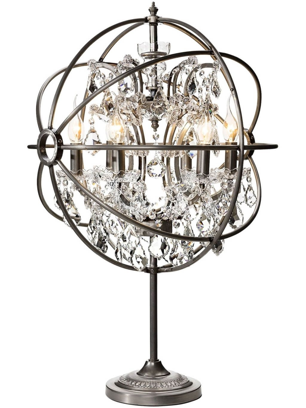 Most Popular Mini Chandelier Table Lamps Inside Lighting: Astonishing Industrial Metal Chandelier Mini Table Lamp (View 2 of 15)