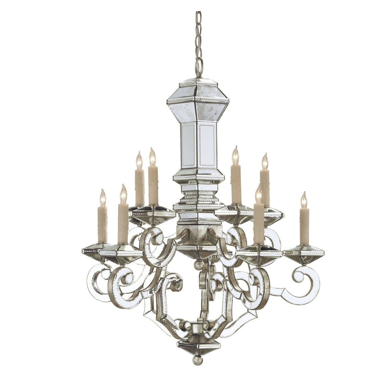 Most Popular Mirrored Chandelier Intended For Mirrored Venetian Chandelier – Belle Escape (View 8 of 15)