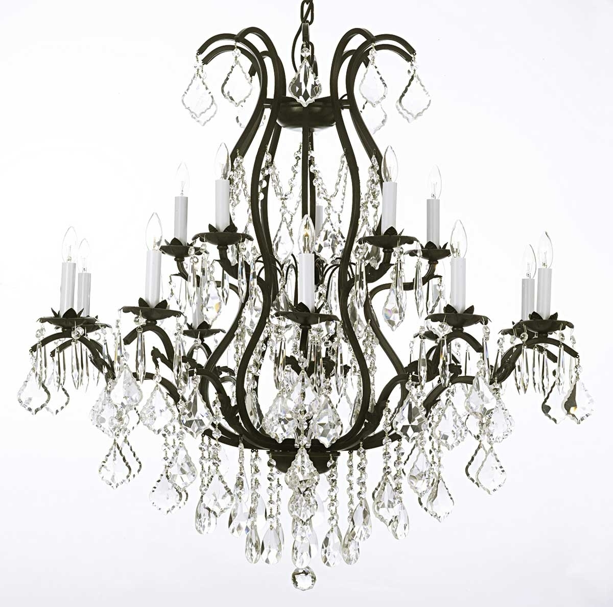 Most Popular Modern Wrought Iron Chandeliers Intended For Modern Black Wrought Iron And Crystal Chandeliers Plus Lamp Holder (View 14 of 15)