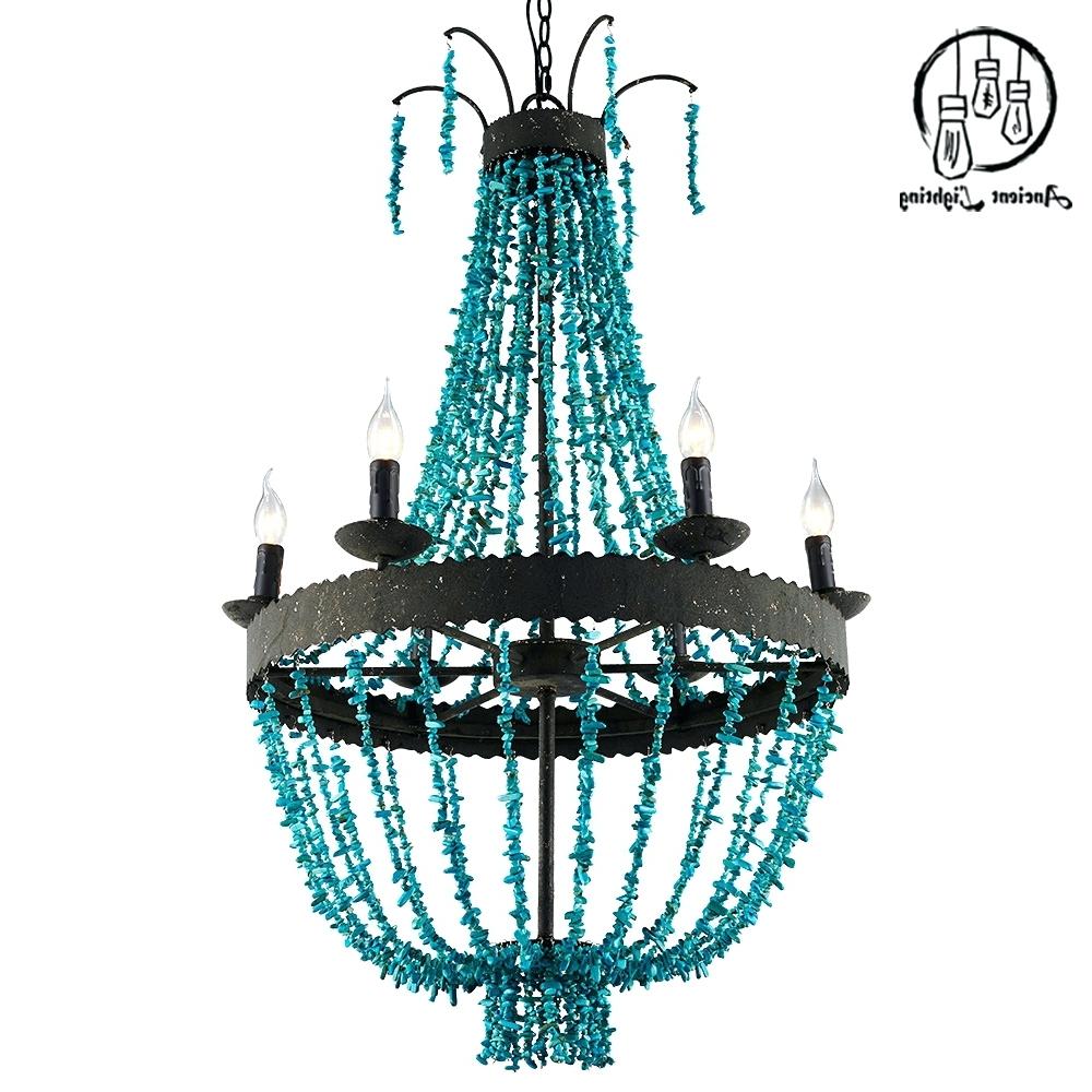 Most Popular Turquoise Beads Six Light Chandeliers Intended For Chandeliers ~ Blue Beaded Chandelier Turquoise Beads Six Light (View 8 of 15)