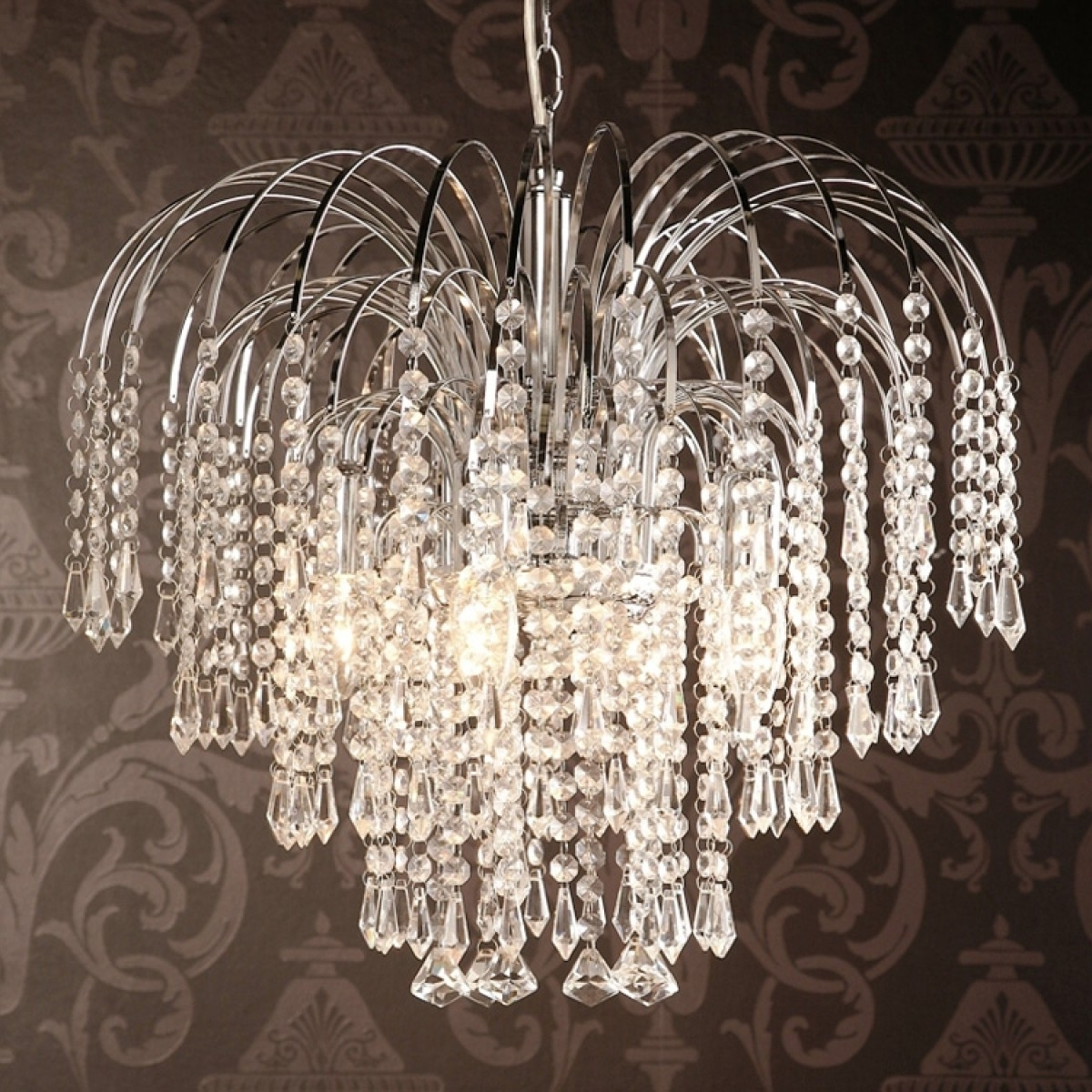 Most Popular Waterfall Crystal Chandelier Pertaining To Four Light Chrome Crystal Chandelier (View 8 of 15)