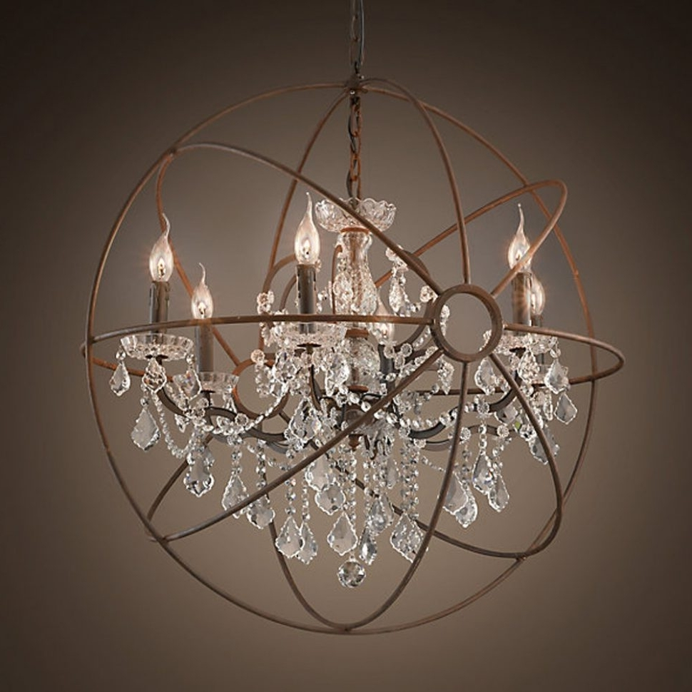 Most Recent Globe Crystal Chandelier Within Chandeliers Design : Magnificent Rustic Orb Chandelier Crystals (View 11 of 15)