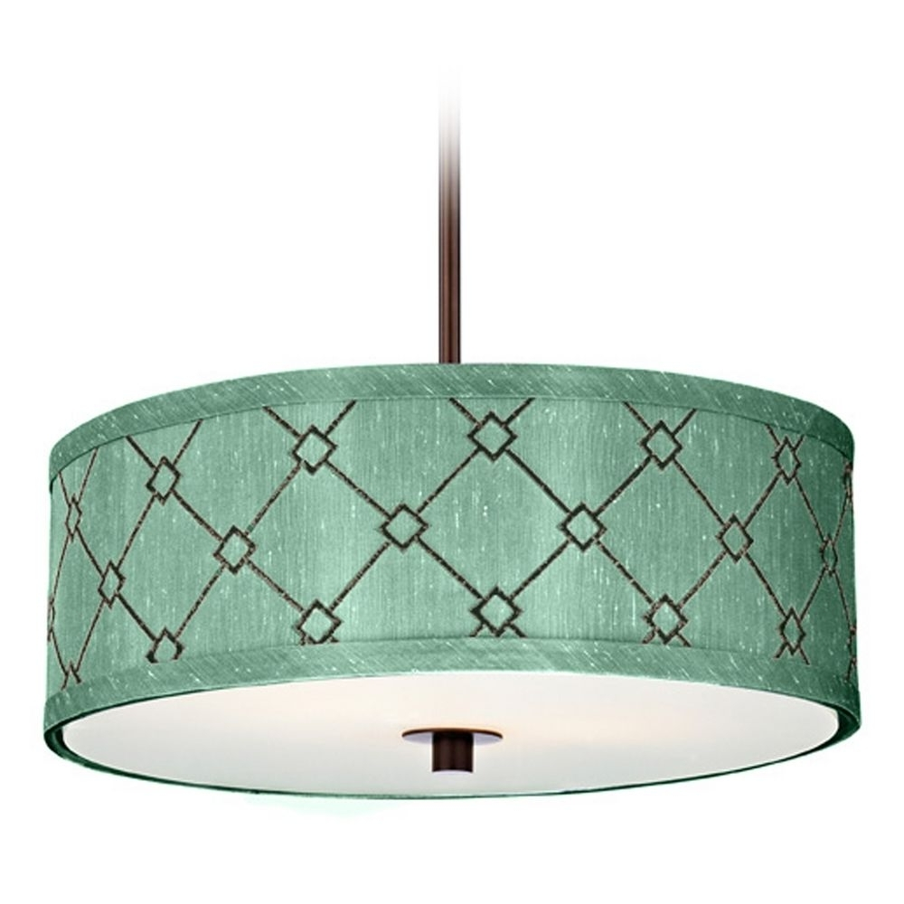 Most Recent Interior: Light Blue Fabric Drum Chandelier With White Shade ~ Fileove Within Fabric Drum Shade Chandeliers (View 7 of 15)
