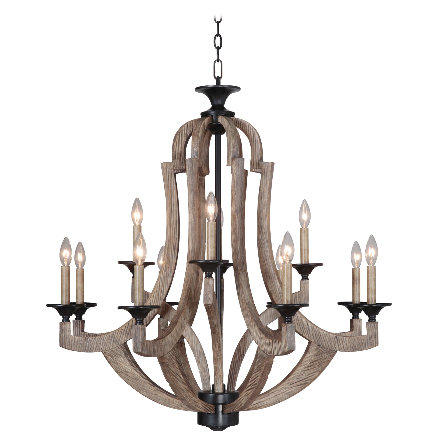Most Recent Iron Chandelier Throughout Jeremiahcraftmade Winton Weathered Pine And Bronze 12 Light (View 13 of 15)