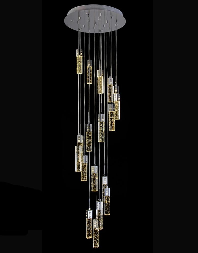 Most Recent Long Chandelier Lighting Throughout Stairwell Led Luminaria Long Bubble Crystal Chandelier Lighting (View 14 of 15)