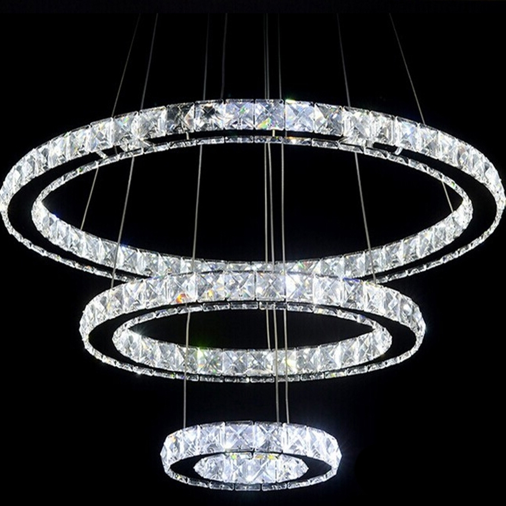 Most Recent Modern Led Crystal Chandelier Light Fixture For Living Room Dining Inside Modern Led Chandelier (View 9 of 15)