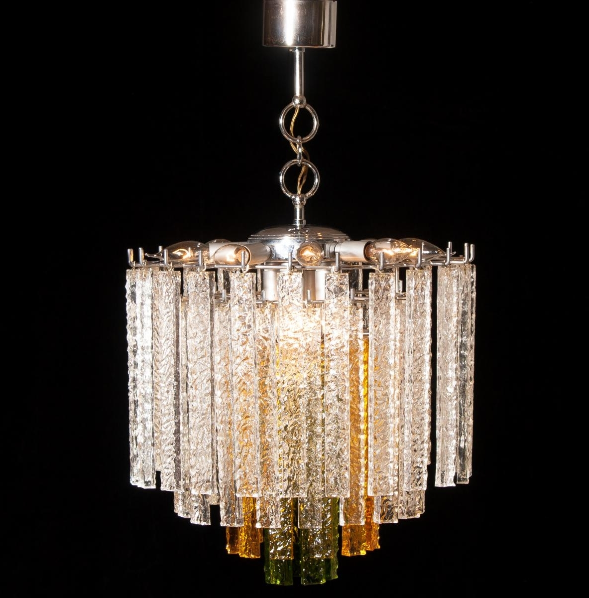 Most Recent Murano Tri Color Glass Chandelier From Venini, 1960S For Sale At Pamono Intended For Glass Chandelier (View 5 of 15)