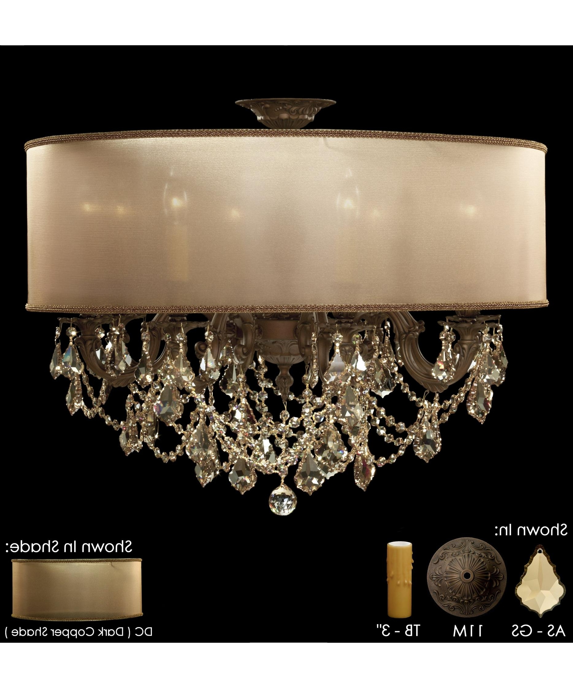 Most Recently Released American Brass And Crystal Fm6541 Llydia 28 Inch Wide Semi Flush Pertaining To Flush Chandelier (View 7 of 15)