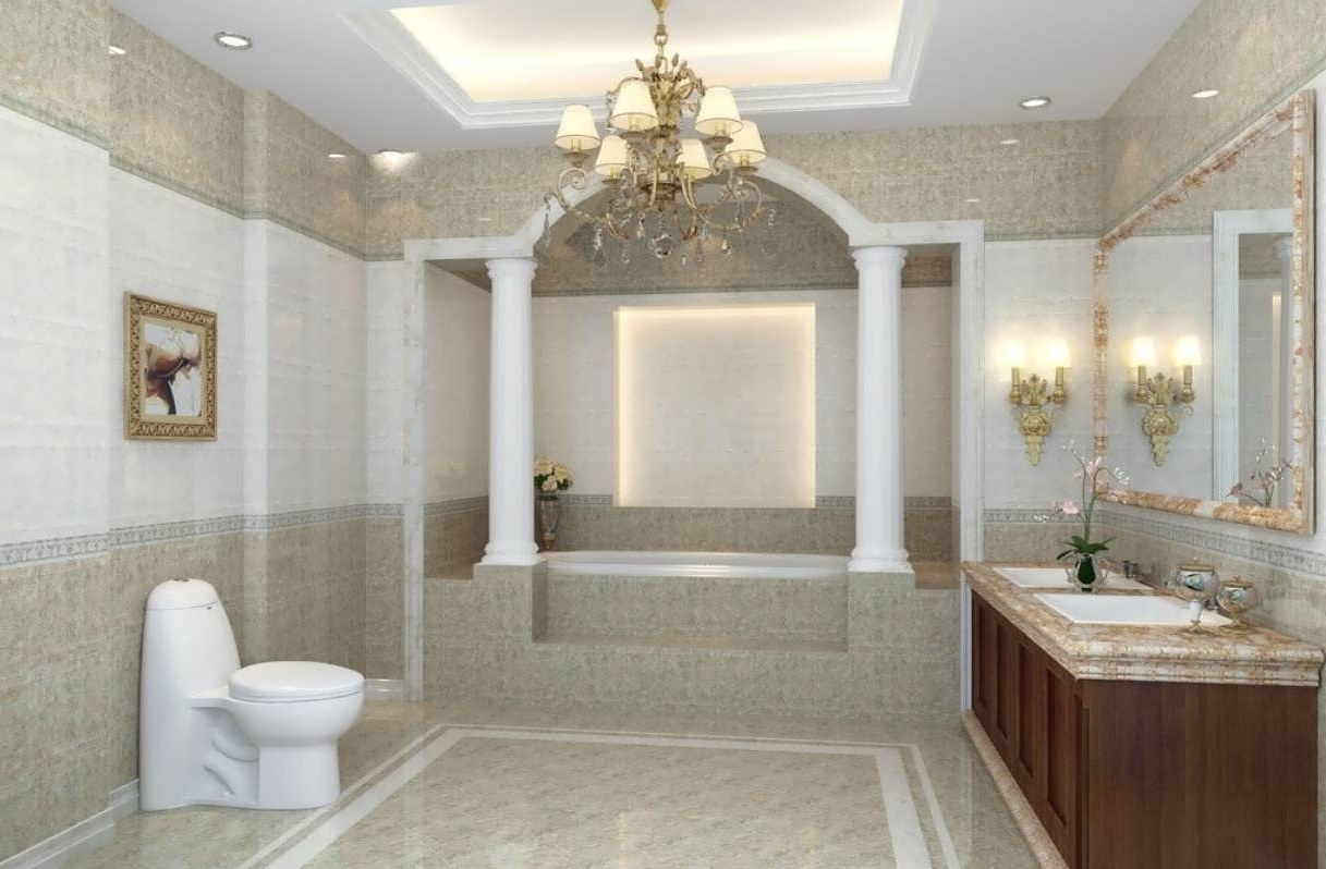 Most Recently Released Chandeliers Design : Magnificent Hanging Chandelier Modern Bathroom With Regard To Modern Bathroom Chandelier Lighting (View 10 of 15)