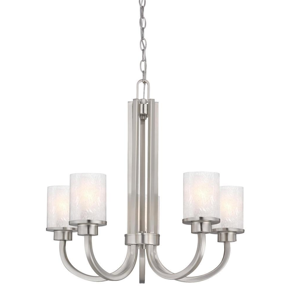 Most Recently Released Endon Lighting Chandeliers Within Westinghouse Ramsgate 5 Light Brushed Nickel Chandelier With Ice (View 11 of 15)