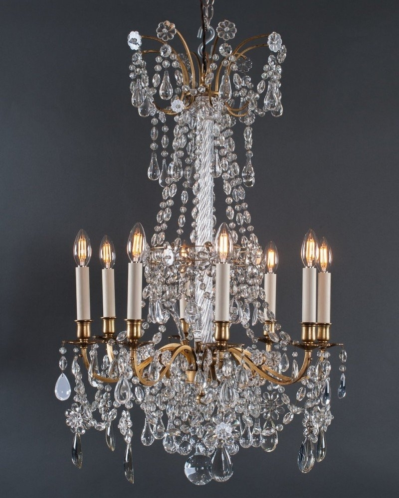 Most Recently Released French Crystal Chandeliers Throughout Gilt French Crystal Chandeliers (Pair), Antique Lighting (View 15 of 15)