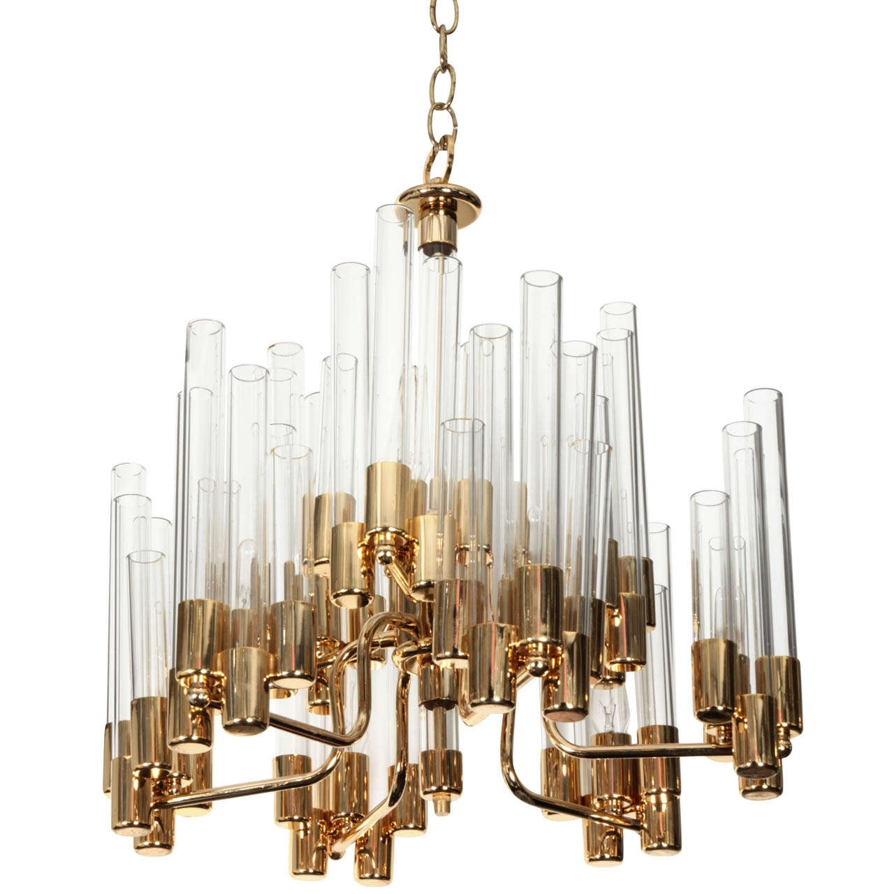 Most Recently Released Interior: Simple Glass Tube Chandelier With Golden Frame Ornaments With Simple Glass Chandelier (View 4 of 15)