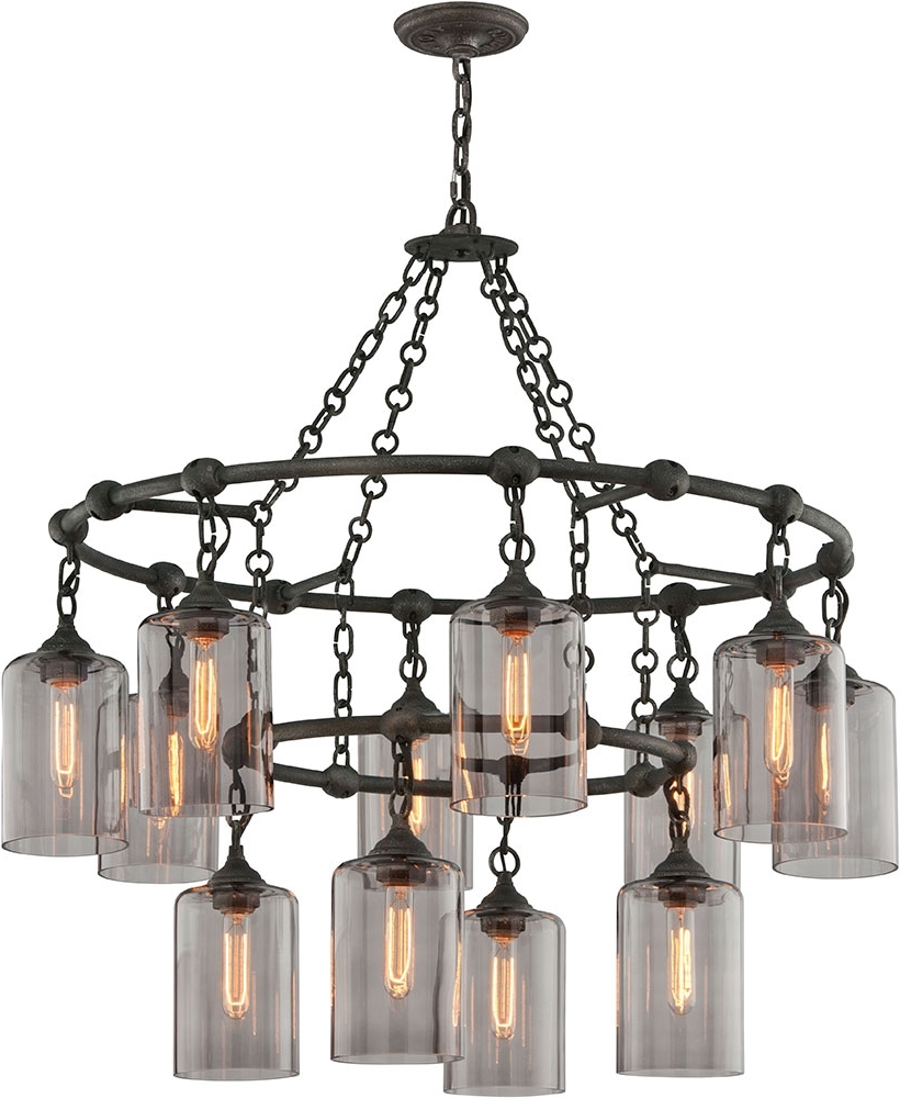 Most Recently Released Large Iron Chandeliers Throughout Troy F4425 Gotham Hand Worked Wrought Iron Chandelier Lamp – Tro F (View 10 of 15)