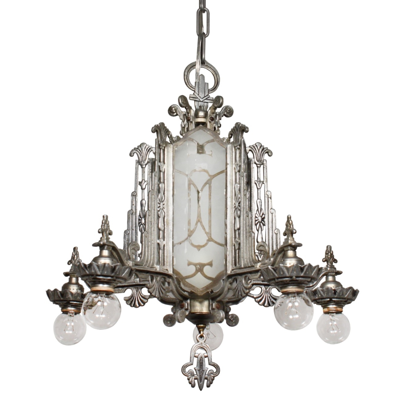 Most Recently Released Mirrored Chandelier Throughout Magnificent Antique Art Deco Chandelier, Mirrored And Etched Glass (View 11 of 15)