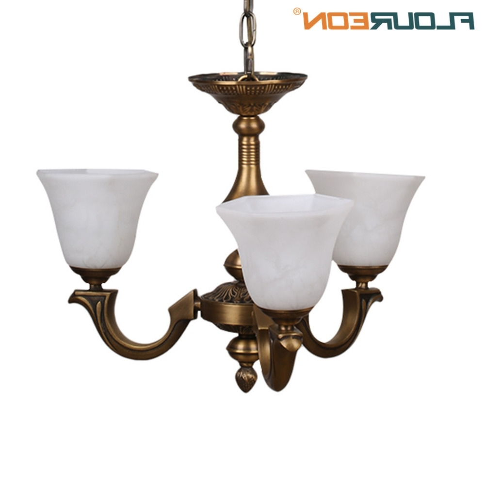 Most Recently Released Retro Chandeliers Throughout Floureon Brass 3 Lights Chandelier,retro European Style Light Led (View 8 of 15)
