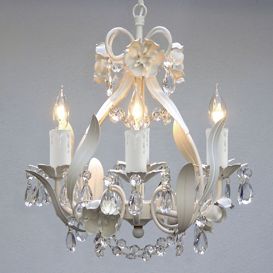 Most Recently Released Small White Chandeliers With Regard To Mini White Floral Hanging Crystal Chandelier Light Fixture 4 Light (View 14 of 15)