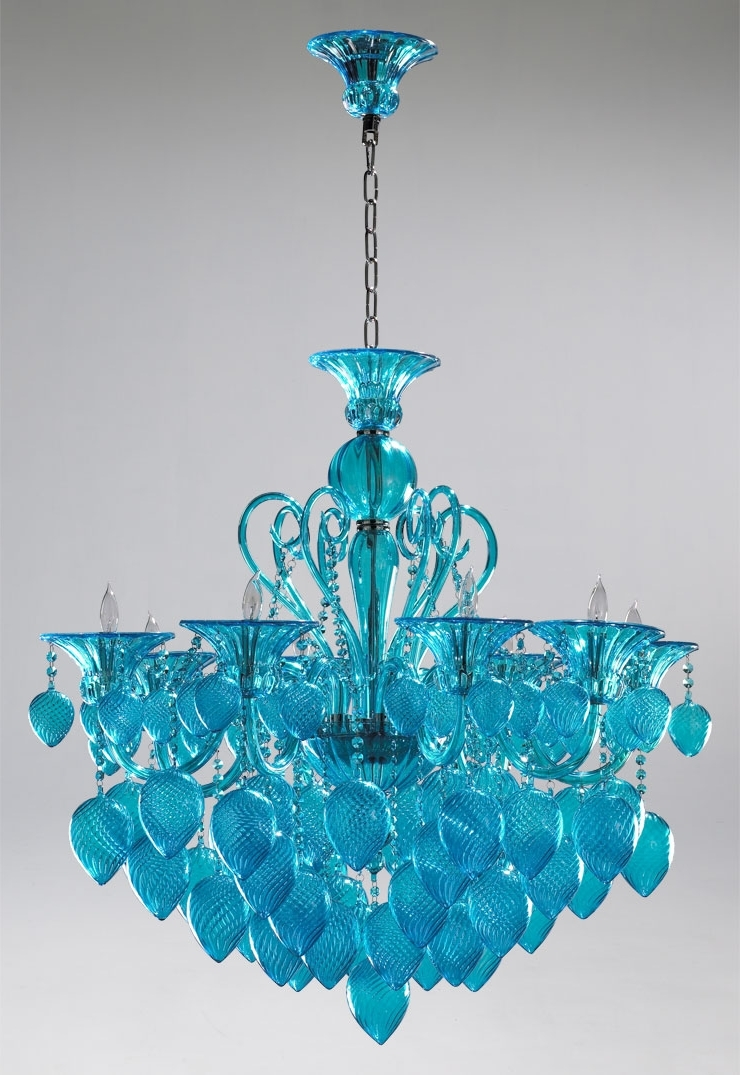 Most Recently Released Turquoise Glass Chandelier Lighting Pertaining To Bella Vetro Aqua Blue Glass Chandeliercyan Design (View 6 of 15)