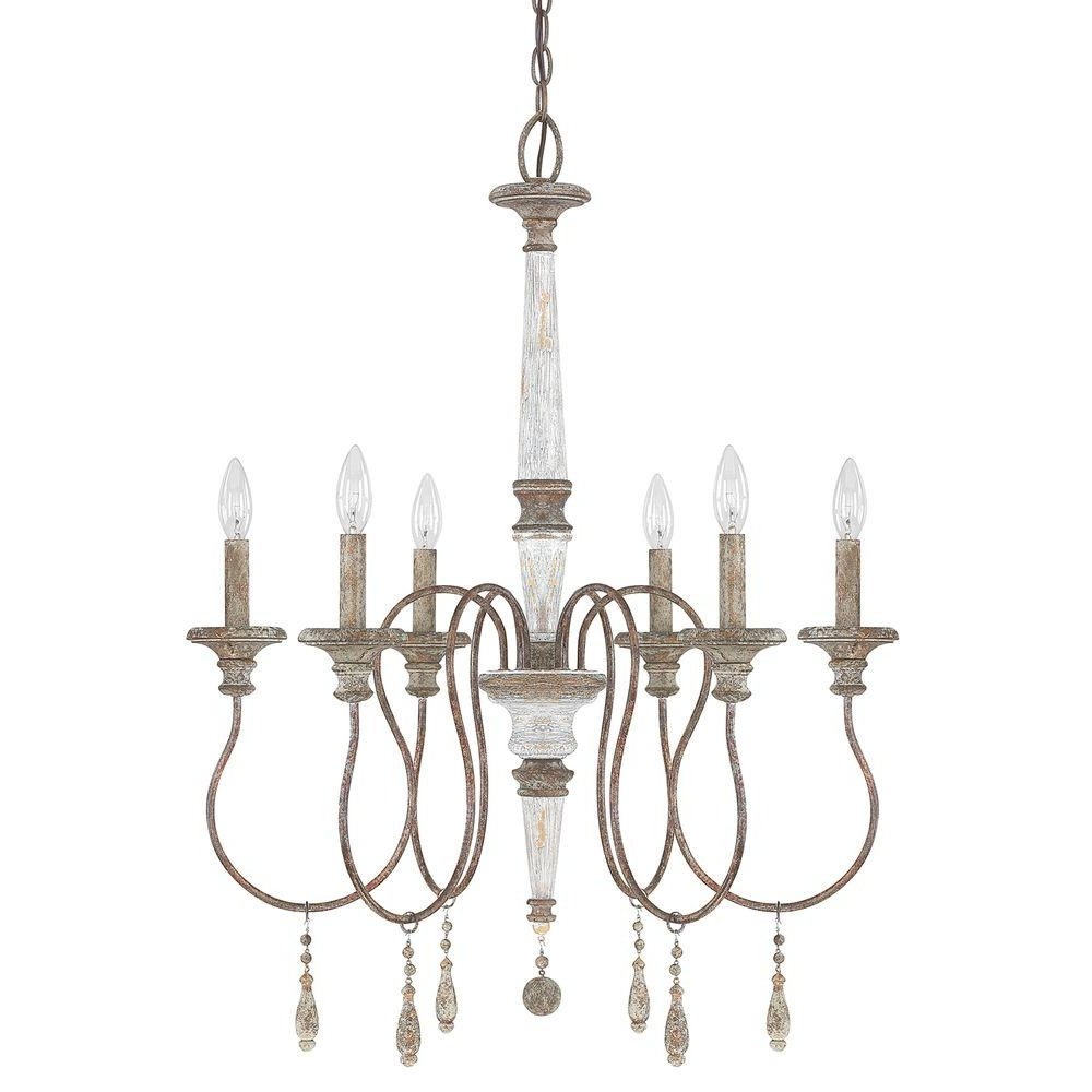 Most Up To Date 6 Light French Antique Chandelier 9A194A – The Home Depot Regarding French Antique Chandeliers (View 7 of 15)