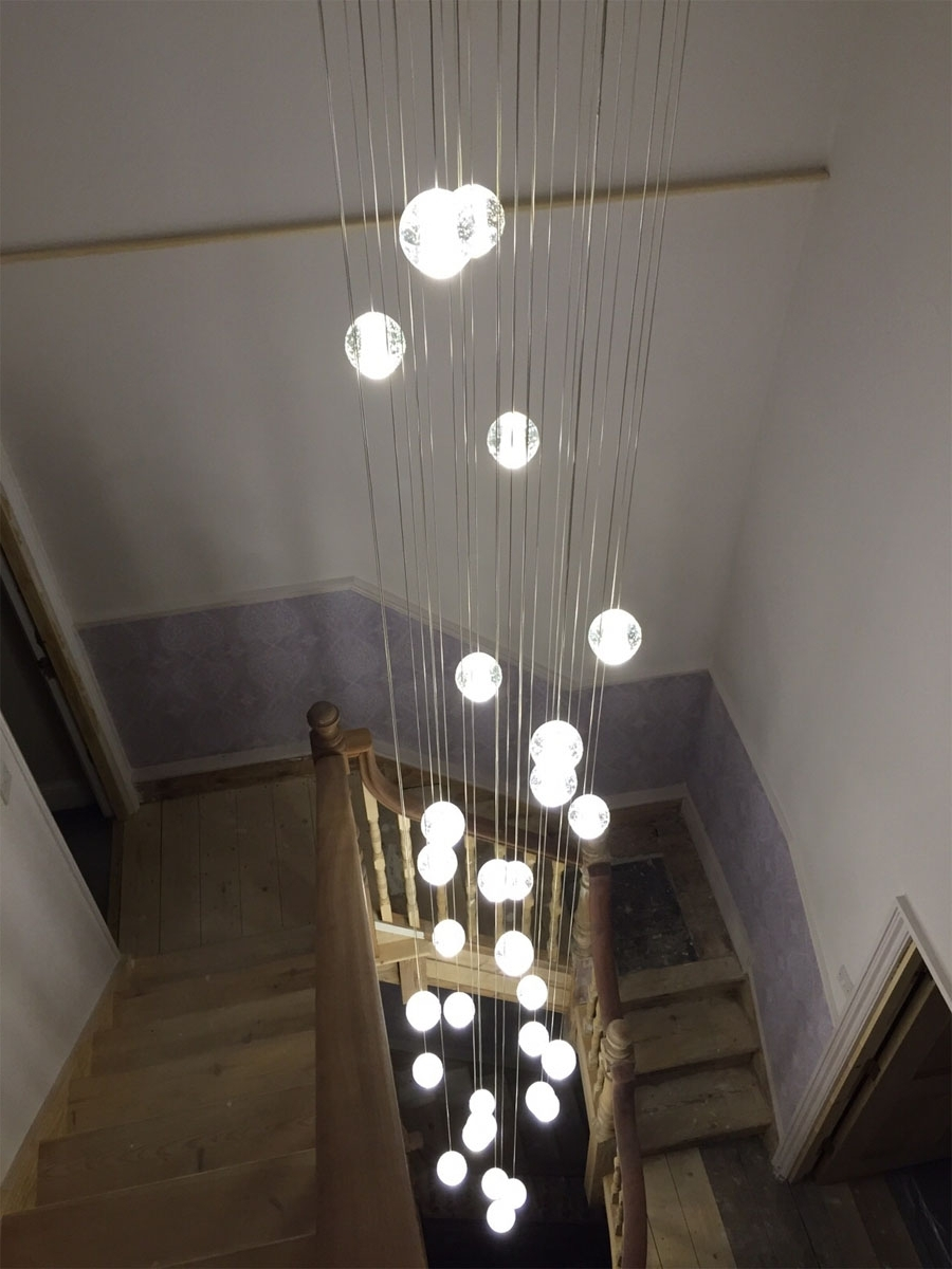 Most Up To Date Air Buble Stairwell Lighting : Nice Stairwell Lighting Control Pertaining To Stairwell Chandelier Lighting (View 4 of 15)