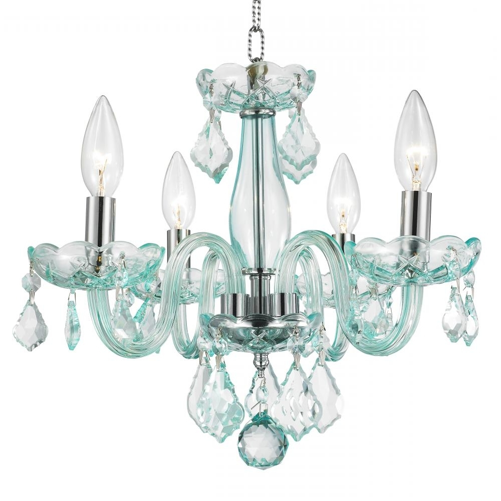 Most Up To Date Clarion Collection 4 Light Chrome Finish And Coral Blue Turquoise For Turquoise Crystal Chandelier Lights (View 5 of 15)